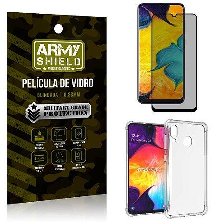 Kit Película de Vidro 3D Privacidade Galaxy A30 + Capa Anti Impacto - Armyshield