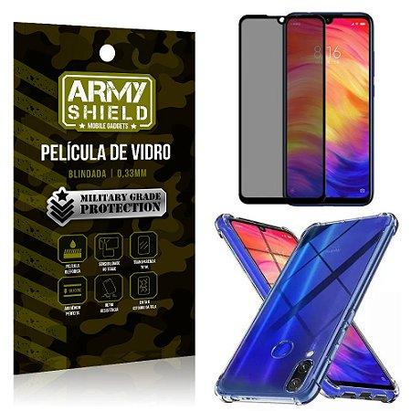 Kit Película de Vidro 3D Anti Espião Curioso Redmi Note 7 + Capa Anti Impacto - Armyshield