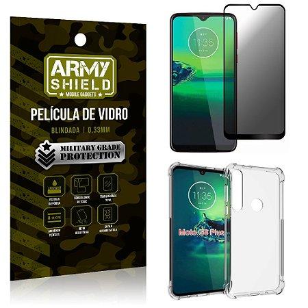 Kit Película de Vidro 3D Anti Espião Curioso Moto G8 Plus + Capa Anti Impacto - Armyshield