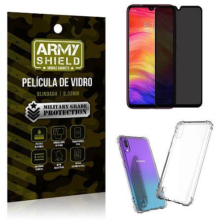 Kit Película de Vidro 3D Anti Espião Curioso Galaxy A10 + Capa Anti Impacto - Armyshield