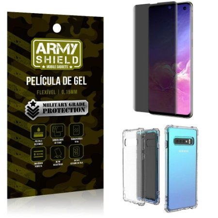 Kit Película de Gel 3D Anti Espião Curioso Galaxy S10 + Capa Anti Impacto - Armyshield