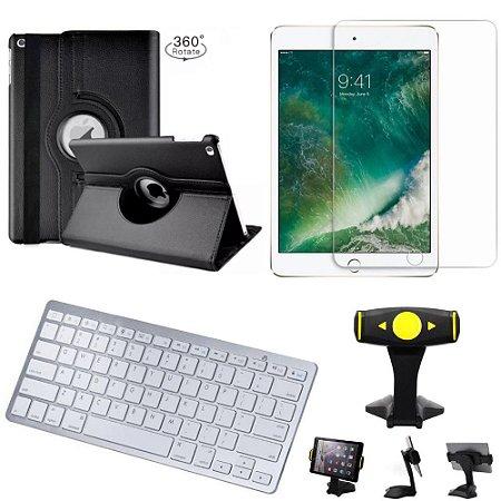 Capa Giratória iPad 2019 7a Geração 10.2 + Película + Teclado +Suporte Mesa +Caneta - Armyshield