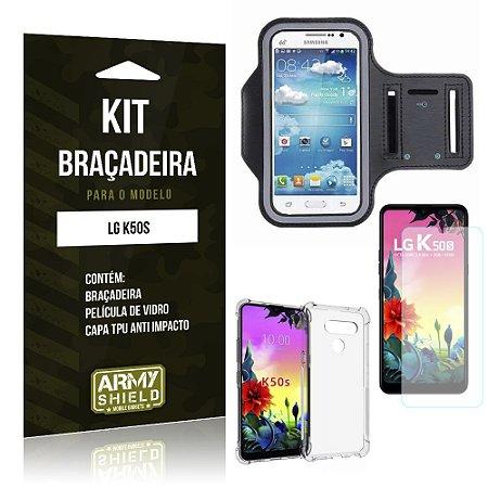 Kit Braçadeira LG K50s Braçadeira + Capinha Anti Impacto + Película de Vidro - Armyshield