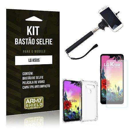 Kit Bastão de Selfie LG K50s Bastão + Capinha Anti Impacto + Película de Vidro - Armyshield