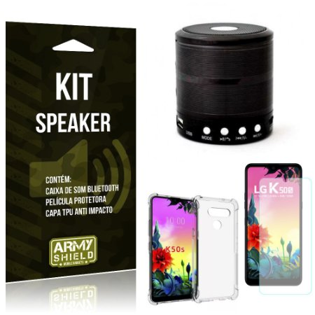 Kit Mini Speaker LG K50s Caixa de Som Bluetooth + Capa Anti Impacto + Película - Armyshield