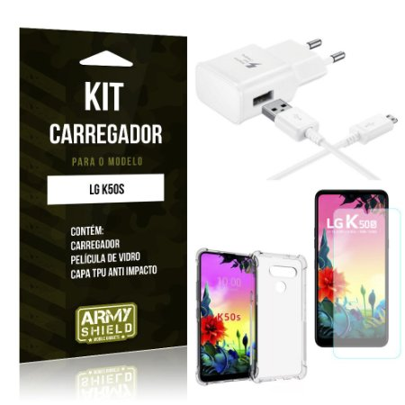 Kit Carregador Tipo C LG K50s + Capinha Anti Impacto + Película de Vidro - Armyshield