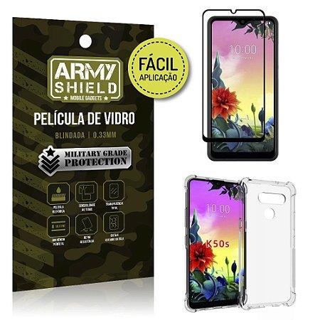 Kit Película 3D Fácil Aplicação LG K50s Película 3D + Capa Anti Impacto - Armyshield
