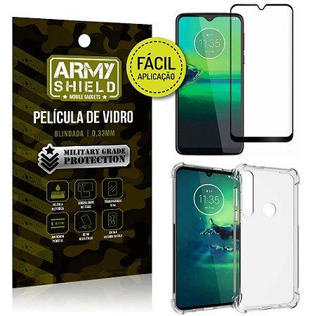 Kit Película 3D Fácil Aplicação Moto G8 Play Película 3D + Capa Anti Impacto - Armyshield