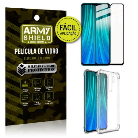 Kit Película 3D Fácil Aplicação Redmi Note 8 Pro Película 3D + Capa Anti Impacto - Armyshield