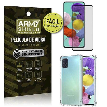 Kit Película 3D Fácil Aplicação Galaxy A51 Película 3D + Capa Anti Impacto - Armyshield