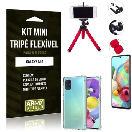 Kit Mini Tripé Flexível Galaxy A51 Tripé + Capinha Anti Impacto + Película de Vidro - Armyshield