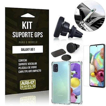 Kit Suporte Veicular Magnético Galaxy A51 Suporte +Capinha Anti Impacto +Película Vidro - Armyshield