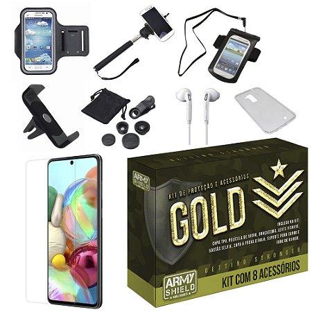 Kit Gold Galaxy A51 com 8 Acessórios - Armyshield