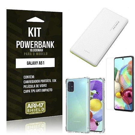 Kit Carregador Portátil 10K Tipo C Galaxy A51 + Capa Anti Impacto +Película Vidro - Armyshield