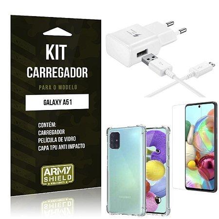 Kit Carregador Tipo C Galaxy A51 + Capinha Anti Impacto + Película de Vidro - Armyshield