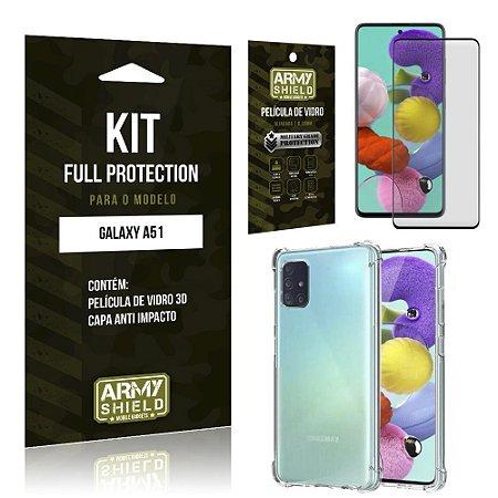 Kit Full Protection Galaxy A51 Película de Vidro 3D + Capa Anti Impacto - Armyshield