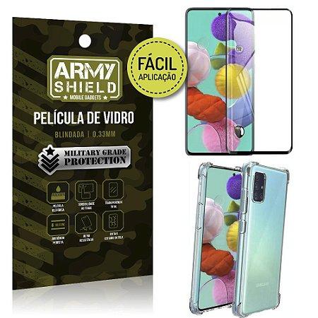 Kit Película 3D Fácil Aplicação Galaxy A71 Película 3D + Capa Anti Impacto - Armyshield