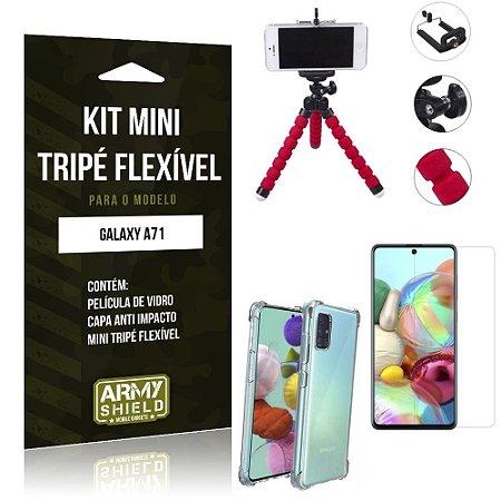 Kit Mini Tripé Flexível Galaxy A71 Tripé + Capinha Anti Impacto + Película de Vidro - Armyshield