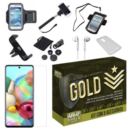 Kit Gold Galaxy A71 com 8 Acessórios - Armyshield
