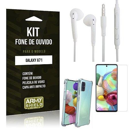 Kit Fone de Ouvido Galaxy A71 Fone + Capa Anti Impacto + Película Vidro - Armyshield