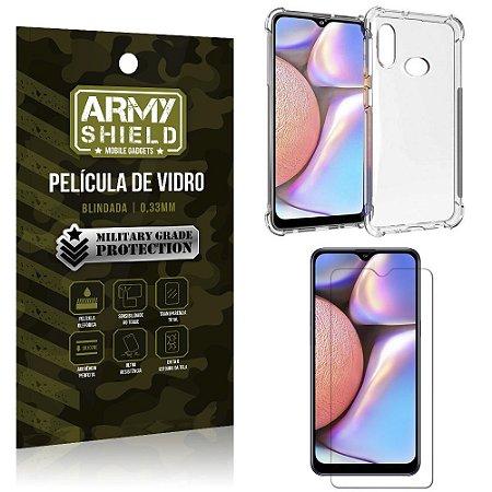 Kit Anti Impacto Galaxy A10S Capinha Anti Impacto + Película de Vidro - Armyshield
