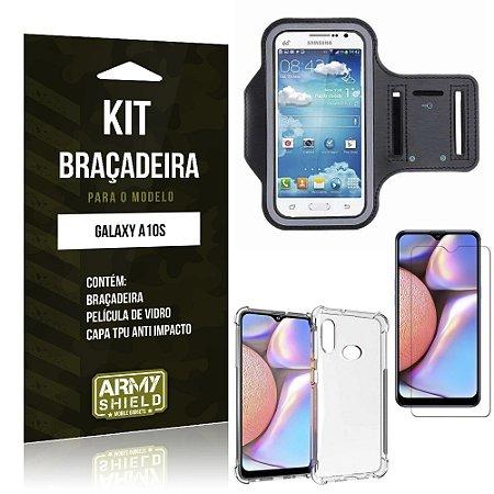 Kit Braçadeira Galaxy A10S Braçadeira + Capinha Anti Impacto + Película de Vidro - Armyshield