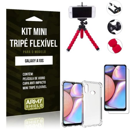 Kit Mini Tripé Flexível Galaxy A10S Tripé + Capinha Anti Impacto + Película de Vidro - Armyshield