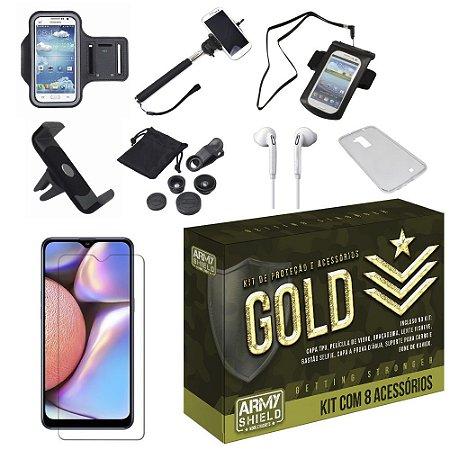Kit Gold Galaxy A10S com 8 Acessórios - Armyshield