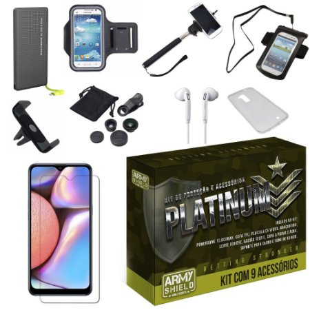 Kit Platinum  Galaxy A10S com 9 Acessórios - Armyshield