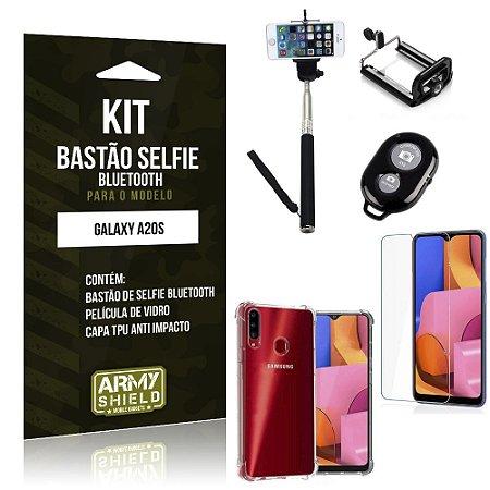 Kit Bastão de Selfie Bluetooth Galaxy A20S Bastão +Capinha Anti Impacto +Película Vidro - Armyshield