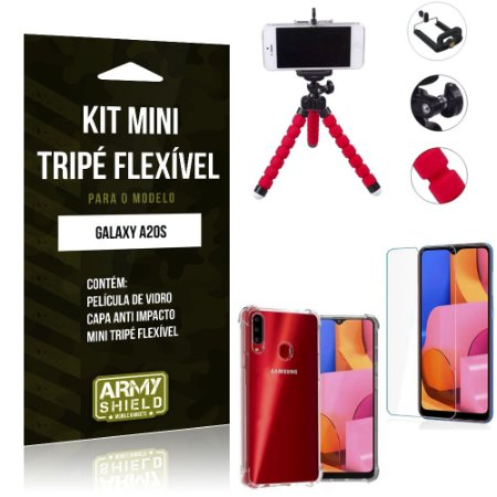 Kit Mini Tripé Flexível Galaxy A20S Tripé + Capinha Anti Impacto + Película de Vidro - Armyshield