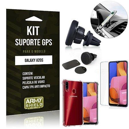 Kit Suporte Veicular Magnético Galaxy A20S Suporte +Capinha Anti Impact +Película Vidro - Armyshield