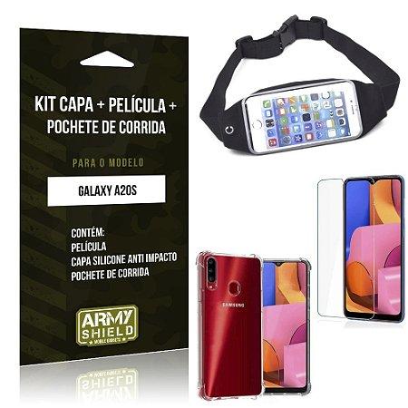 Kit Pochete Galaxy A20S Pochete + Capinha Anti Impacto + Película de Vidro - Armyshield