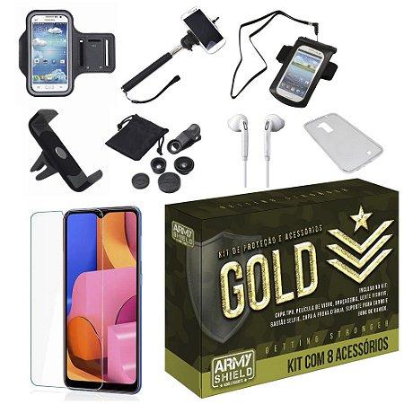 Kit Gold Galaxy A20S com 8 Acessórios - Armyshield