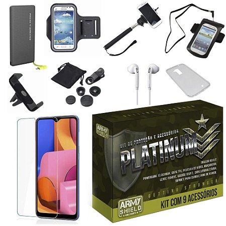Kit Platinum Tipo C Galaxy A20S com 9 Acessórios - Armyshield