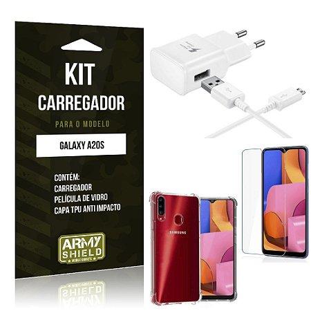 Kit Carregador Tipo C Galaxy A20S + Capinha Anti Impacto + Película de Vidro - Armyshield