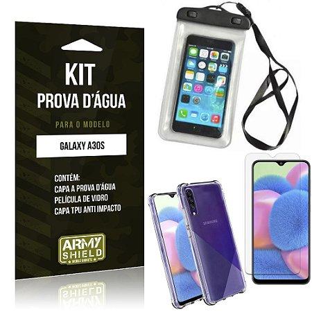 Kit Prova D'água Galaxy A30S Capinha Prova D'água + Capinha Anti Impacto + Película - Armyshield