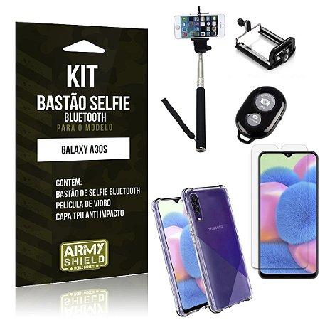 Kit Bastão de Selfie Bluetooth Galaxy A30S Bastão +Capinha Anti Impacto +Película Vidro - Armyshield