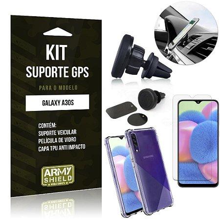 Kit Suporte Veicular Magnético Galaxy A30S Suporte +Capinha Anti Impact +Película Vidro - Armyshield