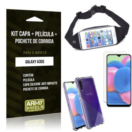 Kit Pochete Galaxy A30S Pochete + Capinha Anti Impacto + Película de Vidro - Armyshield