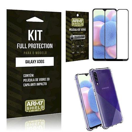 Kit Full Protection Galaxy A30S Película de Vidro 3D + Capa Anti Impacto - Armyshield