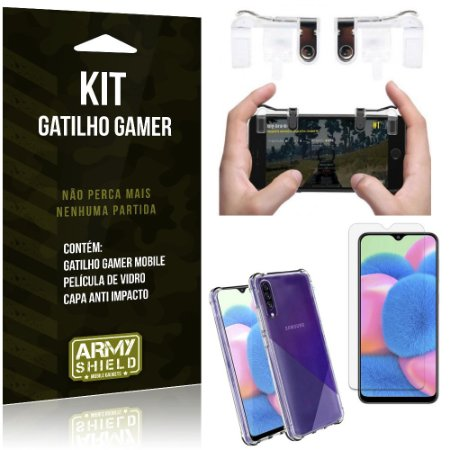 Kit Gatilho Gamer Galaxy A30S Gatilho + Capa Anti Impacto + Película Vidro - Armyshield