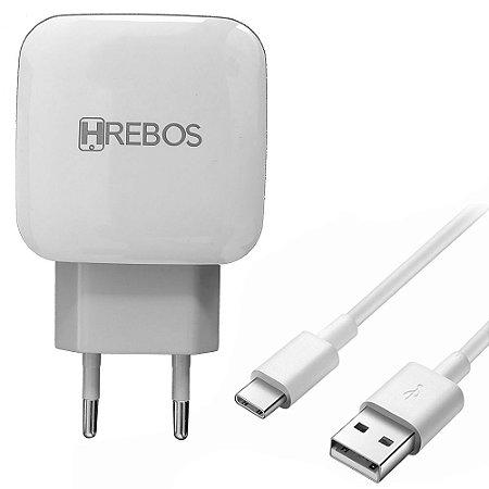 Carregador Turbo HRebos USB Tipo C 3.1A com 2 Saídas