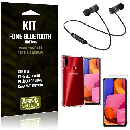 Kit Fone Bluetooth Hrebos Galaxy A20s + Capa Anti + Película Vidro - Armyshield