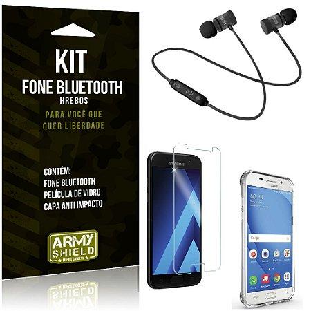 Kit Fone Bluetooth Hrebos Galaxy A5 (2017) + Capa Anti + Película Vidro - Armyshield
