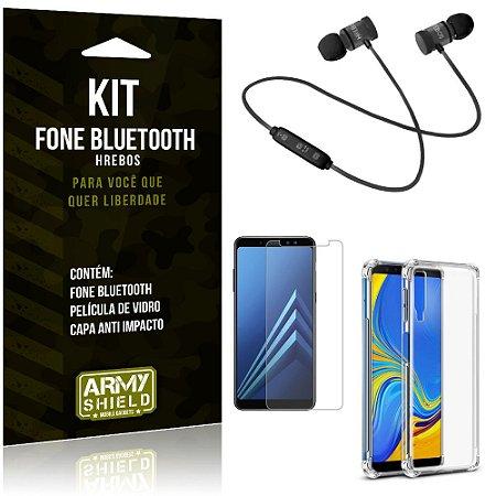 Kit Fone Bluetooth Hrebos Galaxy A7 (2018) + Capa Anti + Película Vidro - Armyshield