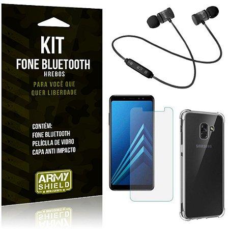 Kit Fone Bluetooth Hrebos Galaxy A8 + Capa Anti + Película Vidro - Armyshield