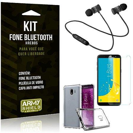 Kit Fone Bluetooth Hrebos Galaxy J4 (2018) + Capa Anti + Película Vidro - Armyshield