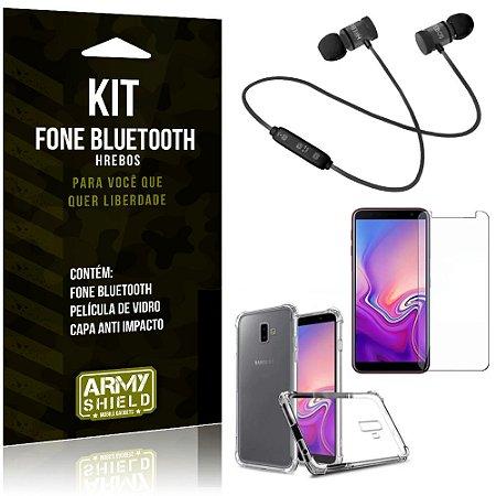 Kit Fone Bluetooth Hrebos Galaxy J6 Plus (2018) + Capa Anti + Película Vidro - Armyshield