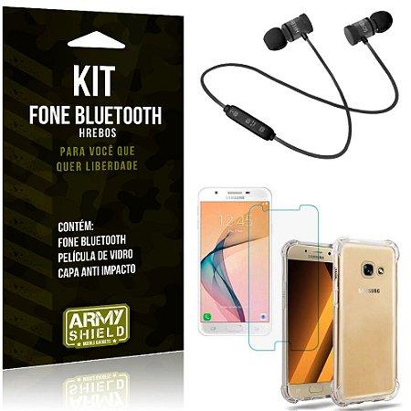 Kit Fone Bluetooth Hrebos Galaxy J7 Prime + Capa Anti + Película Vidro - Armyshield